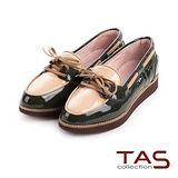 TAS 復古街頭 配色穿繩綁帶厚底樂福鞋-復古橄綠