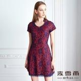 【麥雪爾】立領絲光蕾絲鏽花短洋裝