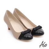 A.S.O 優雅美型 真皮織帶蝴蝶結高跟鞋(卡其)