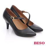 BESO 都會摩登女郎 壓紋牛皮斜帶S勾釦高跟鞋(黑)
