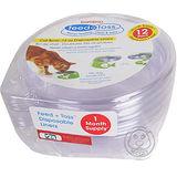 bomboo》犬貓用可換洗塑膠透明碗 (L)6入*2