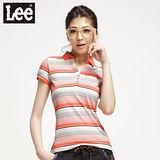 【Lee】Retro Modernist公主短袖條紋POLO-女款(橘+灰)