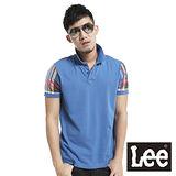 Lee 短袖POLO 平織針織布拼接-男款(藍)