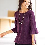日本Portcros 現貨-鐘袖設計可愛圓領上衣(紫色/L)