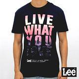Lee 短袖T恤 螢光漸層文字印刷-男款-深藍