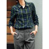 日本Portcros 預購-領口鑲鑽格子襯衫-綠格花樣M-LL