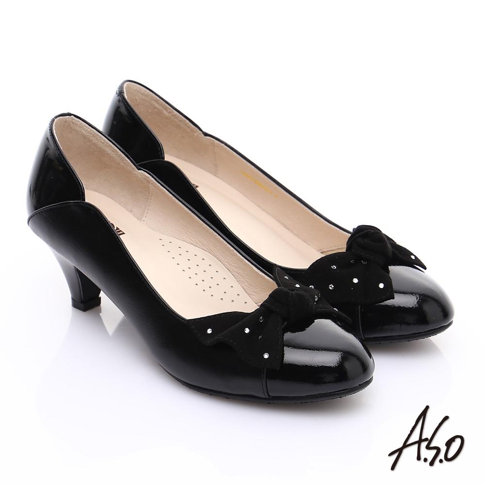 【A.S.O】輕透美型 全真皮扭結蝴蝶低跟鞋(黑)