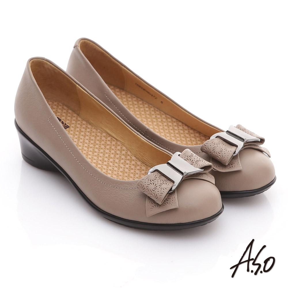 【A.S.O】舒適通勤 真皮蝴蝶結奈米彈力平底鞋(米)