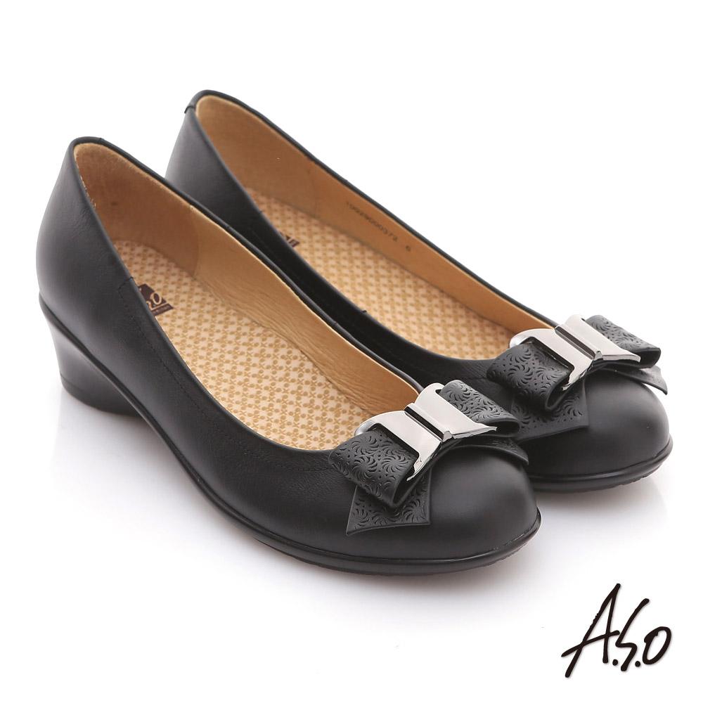 【A.S.O】舒適通勤 真皮蝴蝶結奈米彈力平底鞋(黑)
