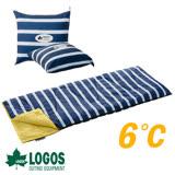 【日本 LOGOS】ROSY 6℃丸洗藍白靠墊中空棉睡袋 72600970