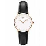 DW Daniel Wellington 施華洛世奇水晶黑色皮革腕錶-金框/26mm(0901DW)