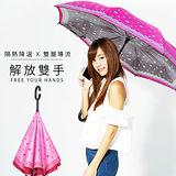 【雙龍牌】HANA色膠弧形雙層反向傘(玫瑰粉下標區)。全球唯一不透光隔熱降溫反向傘A0809