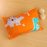 鴻宇HongYew《恐龍公園-橘》台灣製 美國棉 防蹣抗菌兒童纖維枕