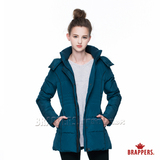BRAPPERS 女款 女用高領可拆式連帽長版羽絨外套-藍
