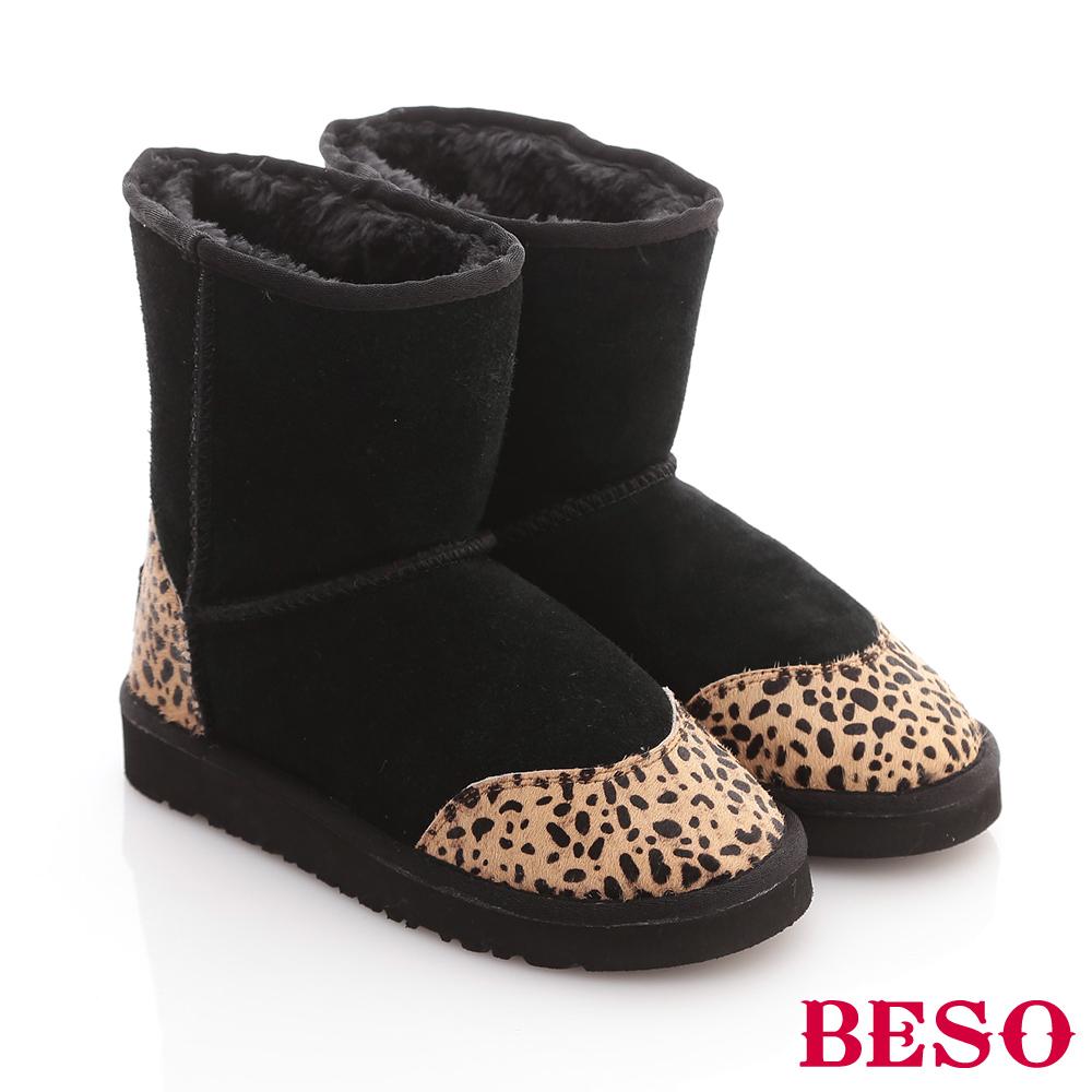 【BESO 】動物遊記 多彩拼接小豹紋圓點雪靴(黑)