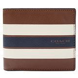 COACH 條紋全皮革短夾(零錢袋/深駝色)