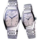 LONGINES Evidenza 藝術酒桶型機械對錶 L26424736+L21424736