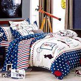 美夢元素 天鵝絨 涼被床包組 愛尚巴黎-單人三件式