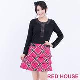 RED HOUSE-蕾赫斯-星星拉鍊假格紋洋裝(桃粉色)