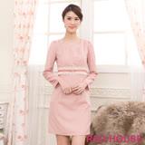 RED HOUSE-蕾赫斯-圓領打褶蕾絲洋裝(粉色)