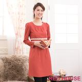 RED HOUSE-蕾赫斯-圓領打褶蕾絲洋裝(橘色)