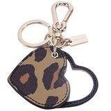 COACH 心型豹紋隨身鏡雙扣環鑰匙圈(黑/咖)