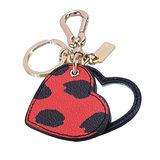 COACH 心型豹紋隨身鏡雙扣環鑰匙圈(黑/紅)