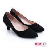 BESO 都會摩登 絨面蕾絲尖楦低跟鞋(黑)