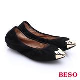 BESO 都會摩登女郎 素面羊皮金屬貓咪平底鞋(黑)