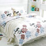 【美夢元素】天鵝絨 幸運草-藍 雙人四件式被套床包組