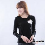 BIG TRAIN 犬張子牡丹印花TEE-黑
