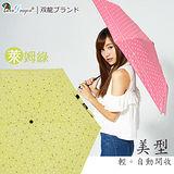 【雙龍牌】美型輕巧。蝴蝶結圓點自動開收傘(萊姆綠下標區)-抗UV防風晴雨三折傘B6061S
