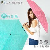 【雙龍牌】美型輕巧。蝴蝶結圓點自動開收傘(蒂芬妮藍下標區)-抗UV防風晴雨三折傘B6061S