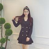 【DearBaby】甜美女孩雙排釦西裝式百褶洋裝-黑色(預購)