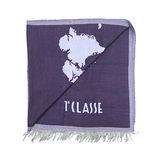 Alviero Martini 義大利地圖包 經典地圖流蘇圍巾(40X180)-紫