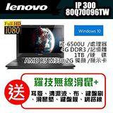 Lenovo 促銷超低價IdeaPad300 80Q70096TW 15.6吋i7-6500U獨顯Win10筆電 附原廠電腦包 / 加碼送羅技無線滑鼠+七大好禮