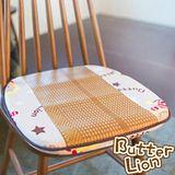 奶油獅 正版授權-涼夏必購~高支撐記憶聚合-搖滾星星紙纖餐椅墊 -米白(二入)