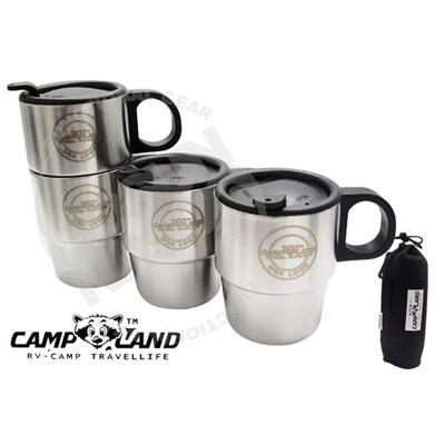 【CAMP-LAND】生活家 四入#304不鏽鋼組合式雙層斷熱咖啡杯組(220cc).斷熱杯/保溫杯/家庭組茶杯RV-ST260 (3組入)