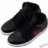 NIKE 男 AIR JORDAN 1 MID 復古鞋 黑/紅 -554724009