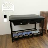 【Amos】高收納機能二抽軟墊穿鞋椅
