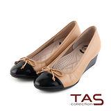 TAS 太妃Q系列 柔軟乳膠鏡面拼接蝴蝶結楔型娃娃鞋-復古棕
