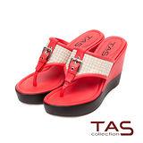 TAS T字夾腳混織格紋厚底楔型涼拖鞋-蜜橘紅
