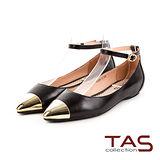 TAS 甜美法式 金屬拼接踝繞帶內增高娃娃鞋-羊皮黑
