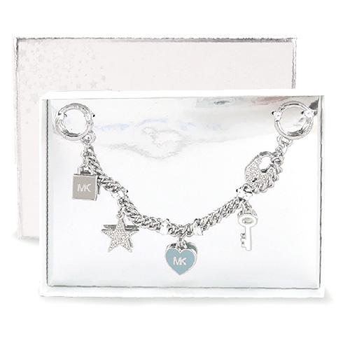 MICHAEL KORS 糖瓷愛心鑰匙鎖頭造型包包吊飾(粉藍/銀色)