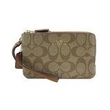 COACH送原廠提袋- 經典LOGO雙拉鍊L型手拿包(咖啡)