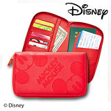Diseny 迪士尼高質感十字皮革紋旅行護照包(紅色)