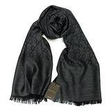 GUCCI 經典LOGO羊毛混紡薄圍巾(黑灰)