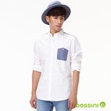 bossini男裝-牛津紡拼布長袖襯衫03白-(品)