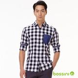 bossini男裝-格紋長袖襯衫12白-(品)