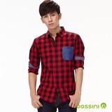 bossini男裝-格紋長袖襯衫12紅-(品)
